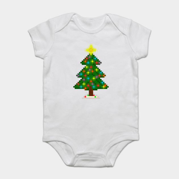 Christmas Tree Onesie.Pixel Christmas Tree With Glowing Lights White
