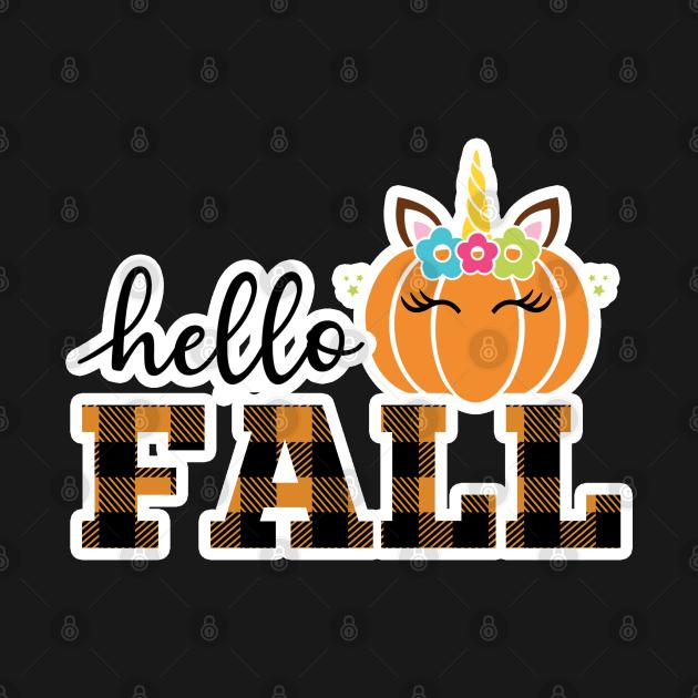 Say Hello Fall with a Unicorn Attitude (Dark bg)