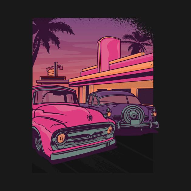 Retro Classic Cars Diner Design