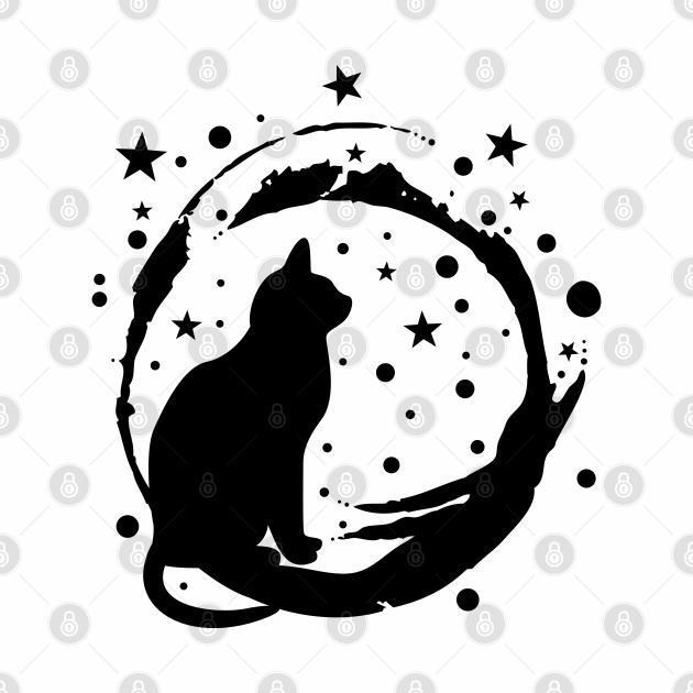 Cat Art cute design Black Kitten on Blue