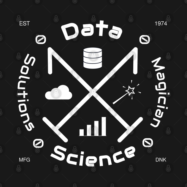 Data Science Solutions Magician | Vintage Retro Hipster Logo White