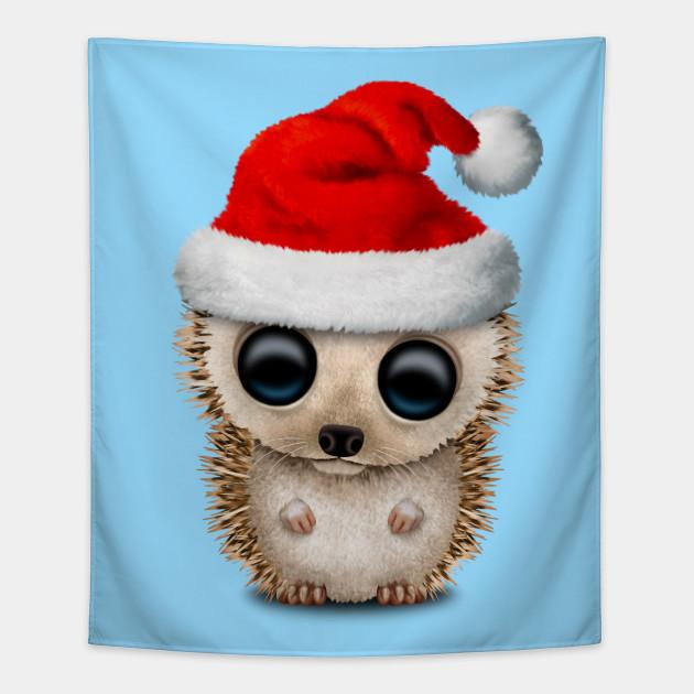 48c7258c775bd Christmas Hedgehog Wearing a Santa Hat - Christmas - Tapestry ...