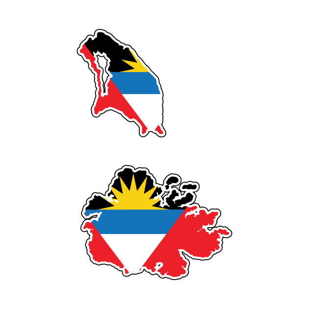 Antigua and Barbuda National Flag in Map