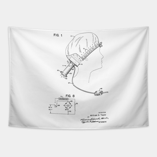 Portable Hair Dryer Vintage Patent Hand Drawing Hairdryer Tapestry Teepublic