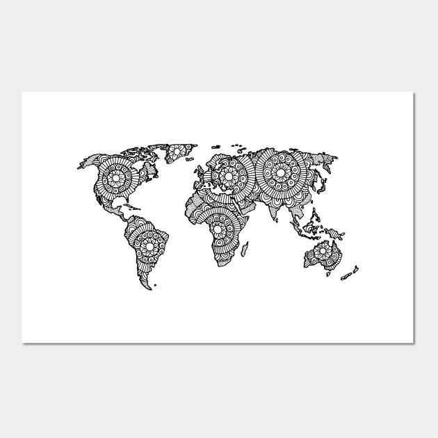 Mandala World Map World Map Posters And Art Prints Teepublic