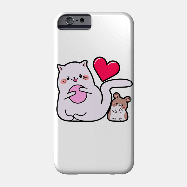 Kawaii style, mouse lovers, Valentine's Day, cute kawaii mice and cats . Phone Case