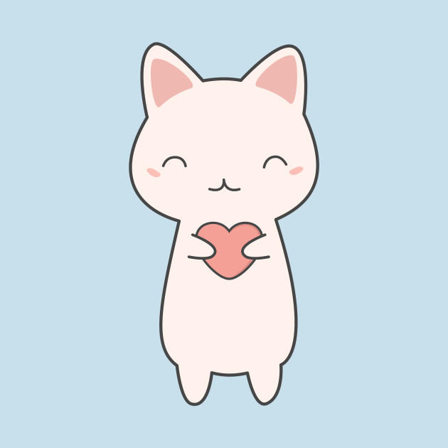 Cute Kawaii Cat With Hearts
