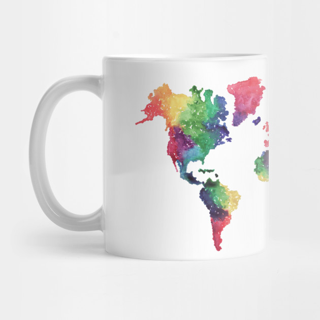 Rainbow World Map World Map Mug Teepublic