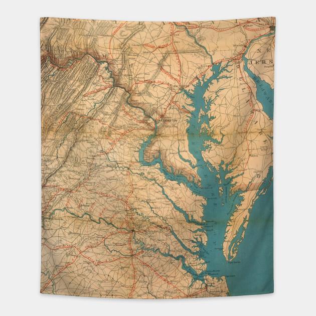 Vintage Map of Virginia and The Chesapeake Bay (1862) on rockfish gap map, appalachian mountains map, colorado river map, cheapeake bay map, blacklick map, savannah river map, missouri river map, james river map, convoy map, hudson river map, coles point map, greenbackville map, lake okeechobee map, nottoway map, ferrum map, beckley map, wicomico map, detroit map, arkansas river map, mississippi river map,