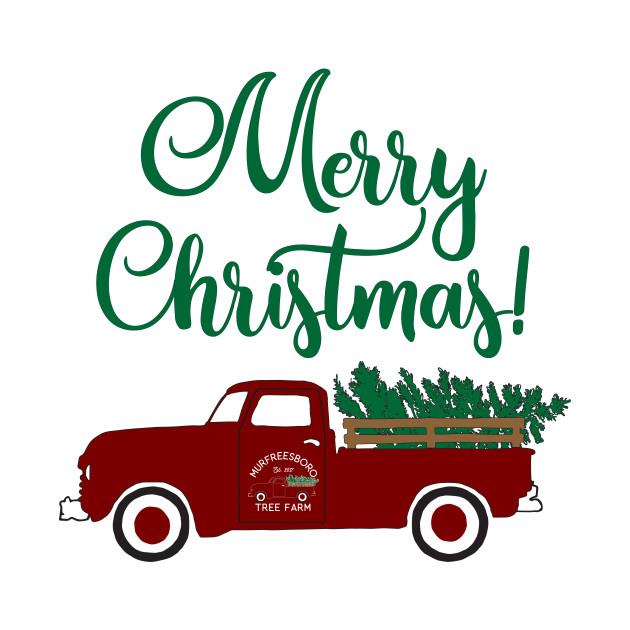 Merry Christmas Vintage Pickup Truck Tree Farm