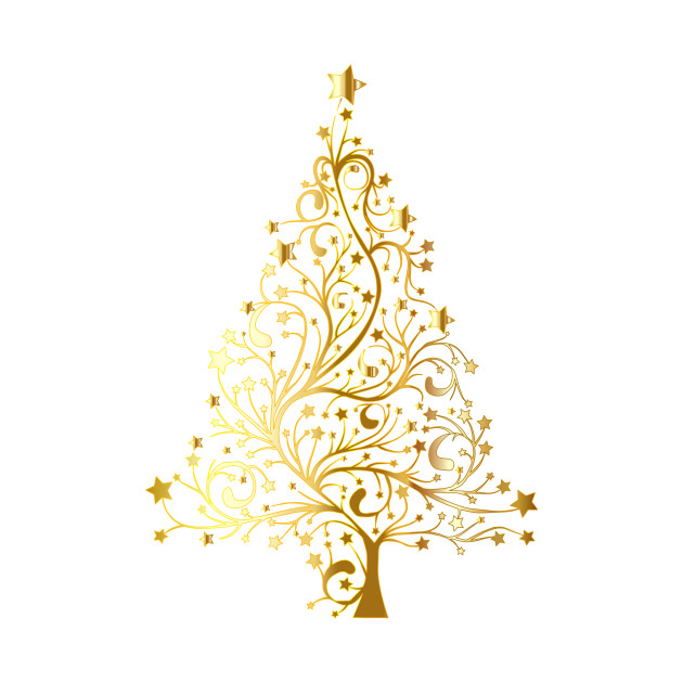 Limited Edition Exclusive Starry Christmas Tree Gold No Background