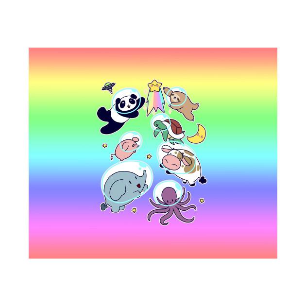 Space Animals Ombre Rainbow