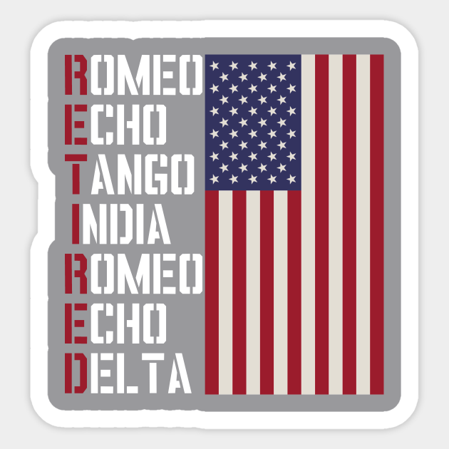 Military Police Pilot Retirement Gift Phonetic Alphabet Military Retirement Sticker Teepublic
