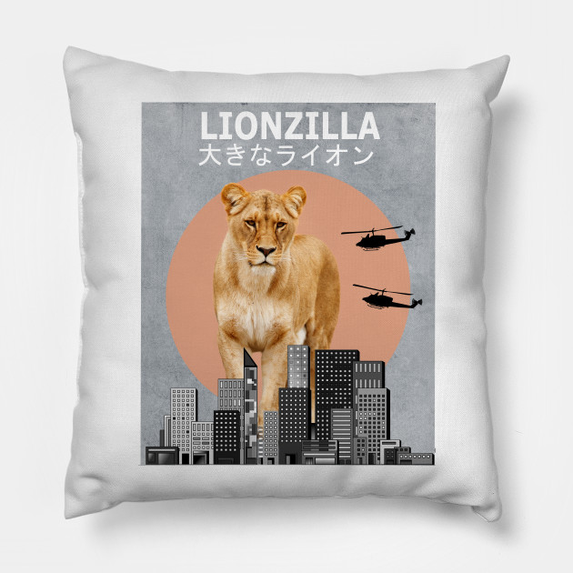 341d9514bd3 Lionzilla Lion Funny Animal T-Shirt Lover Gift - Lion - Pillow ...