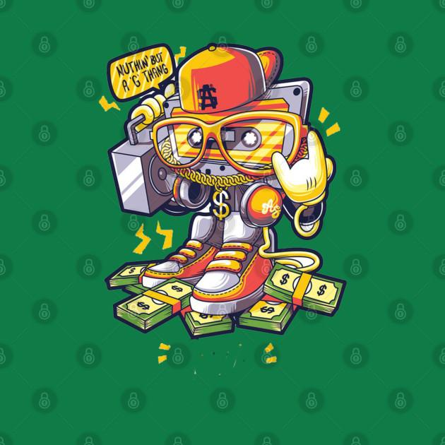 Hip hop music Drawing Graffiti Illustration, Hip Hop People, robot holding cassette player illustration PNG clipart