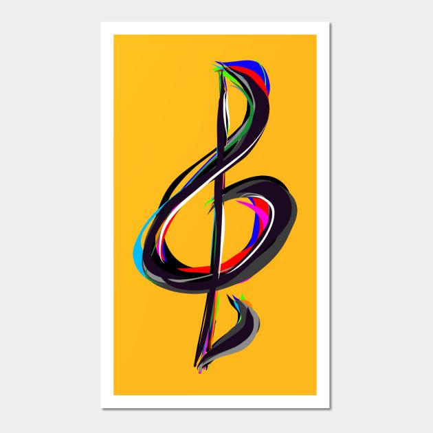 Painted Treble Clef - Music - Wall Art | TeePublic