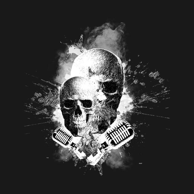Skull Singer Vocalist Singing Mirophone
