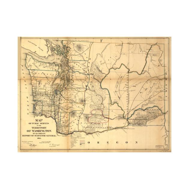 Vintage Map of Washington State (1866) - Washington State Map - T ...