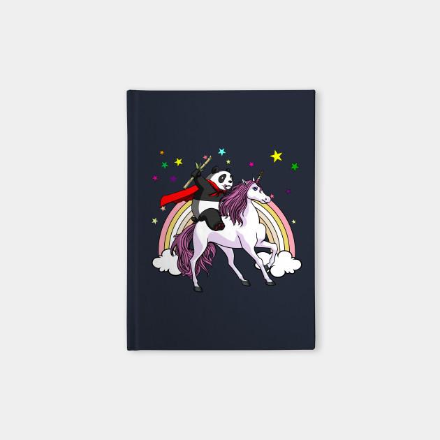 Panda Bear Riding Unicorn Funny Rainbow