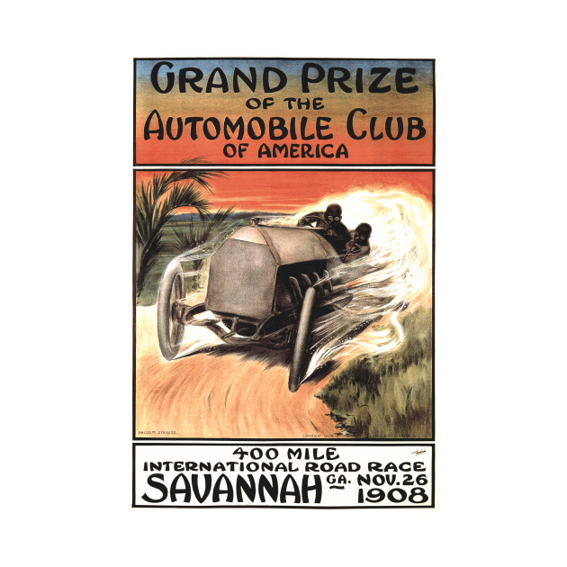 1908 Savannah Georgia International Road Race Poster Art