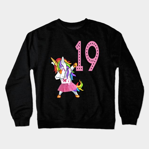 29b99c6076b0 19th Birthday Unicorn Birthday Girl for 19 years old Girl Woman Lady  Crewneck Sweatshirt