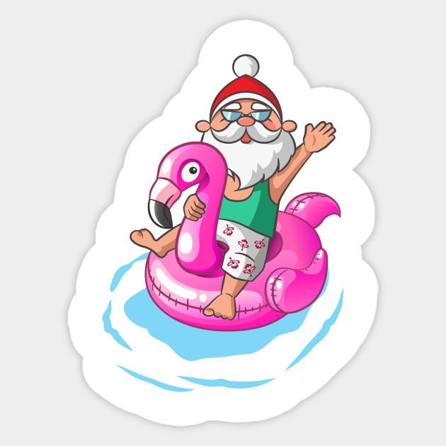 Christmas In July Santa Clipart.Christmas In July Santa Hawaiian Flamingo Summer Surf Gift