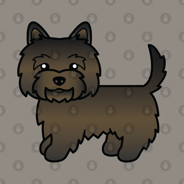 Dark Brindle Cairn Terrier Dog Cute Cartoon Illustration