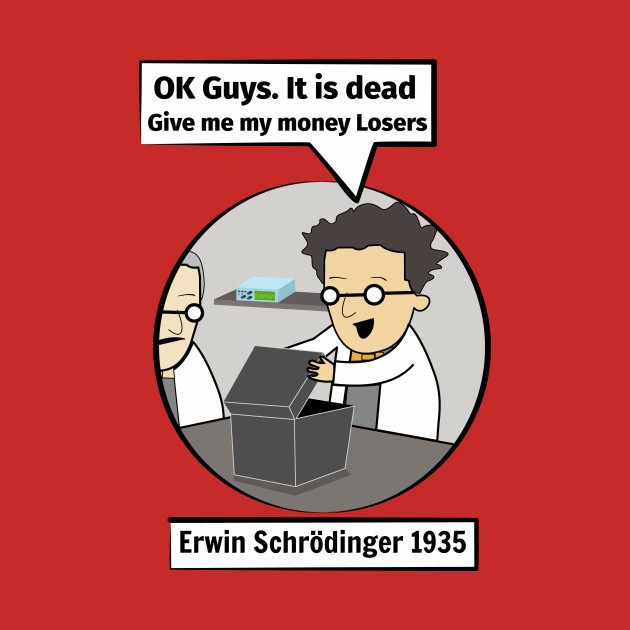 16db5434f ... Schrodinger's cat. Funny Science illustration of Schrodinger experiment  T-shirt