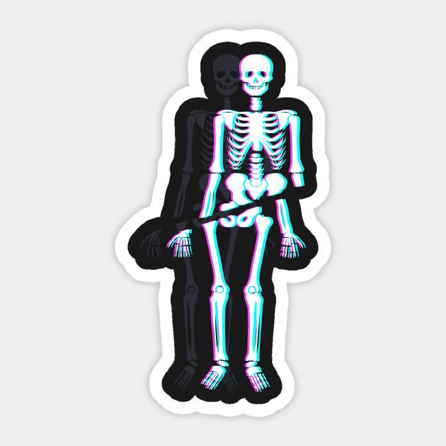 Halloween Stickers Aesthetic.Spooky Skeleton Vaporwave Aesthetic