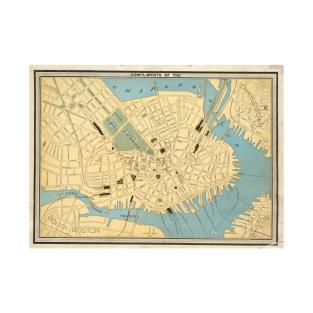 Antique Boston Map TShirts TeePublic - Antique boston map
