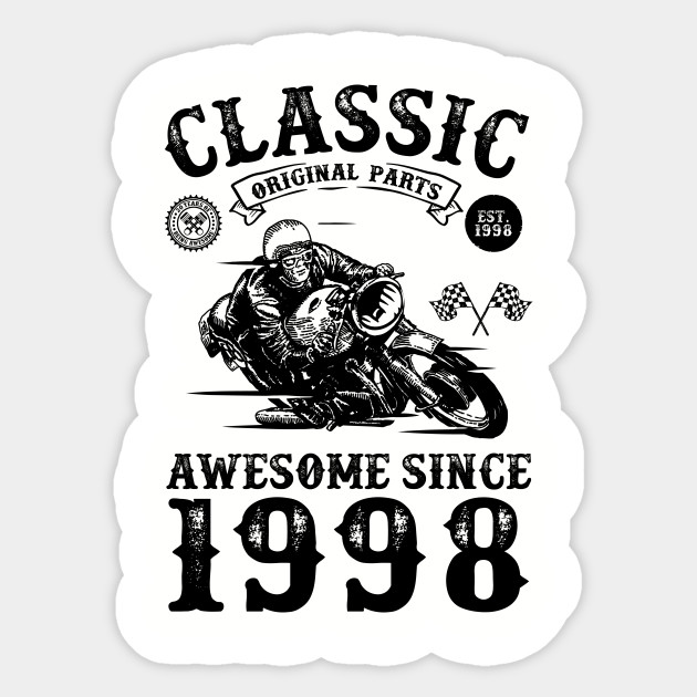 20th Birthday Gift 20 Years Old Born In 1998 Made Vine Motorcycle Lover Retro Bike For Men