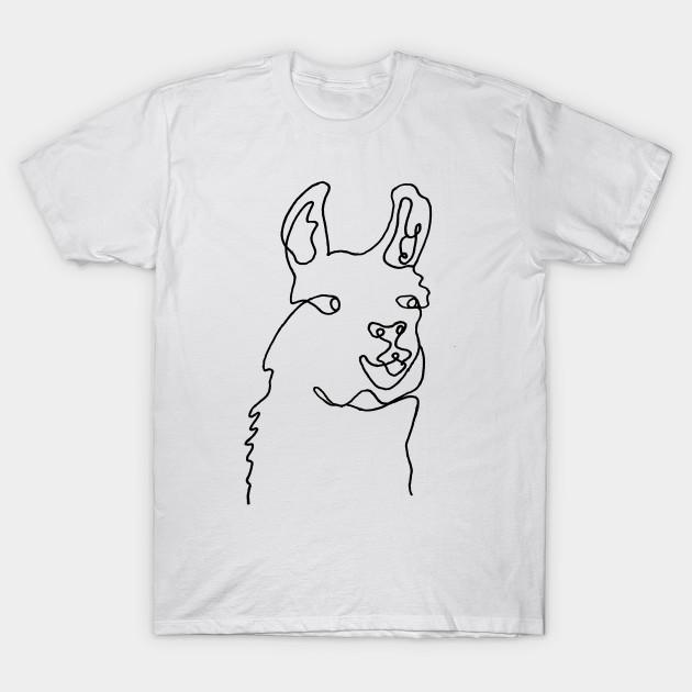 da29432e Llama Continuous Line Art - Llama - T-Shirt | TeePublic