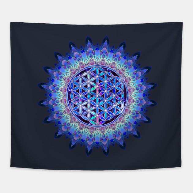 Flower Of Life Blue Violet Colored Stars Heaven