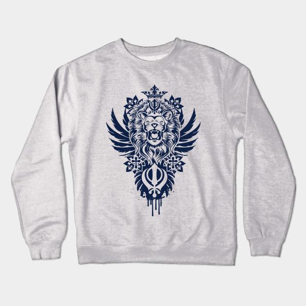 61f383f7 Khanda Lion - Lion - Crewneck Sweatshirt | TeePublic