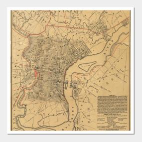 Historical philadelphia map wall art teepublic freerunsca Gallery