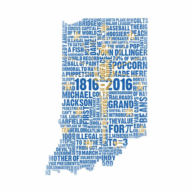 Indiana Bicentennial Blue & Gold Weird Facts