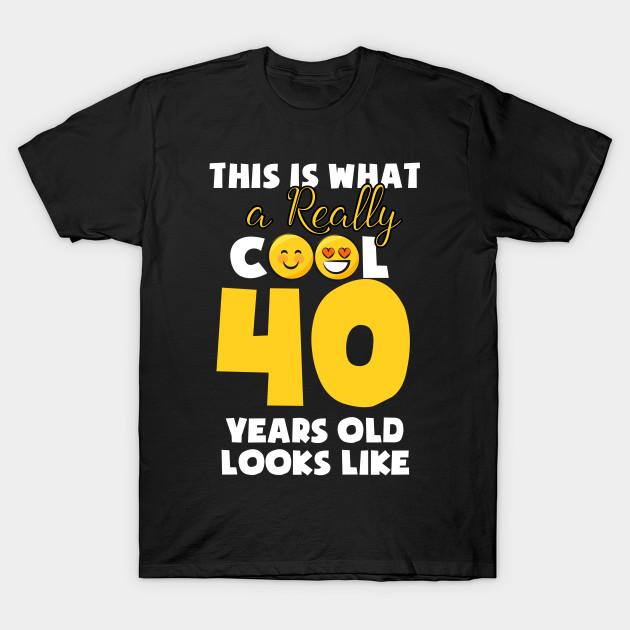 Kids Emojicon 40th Birthday Gifts 40 Year Old Girls T Shirt