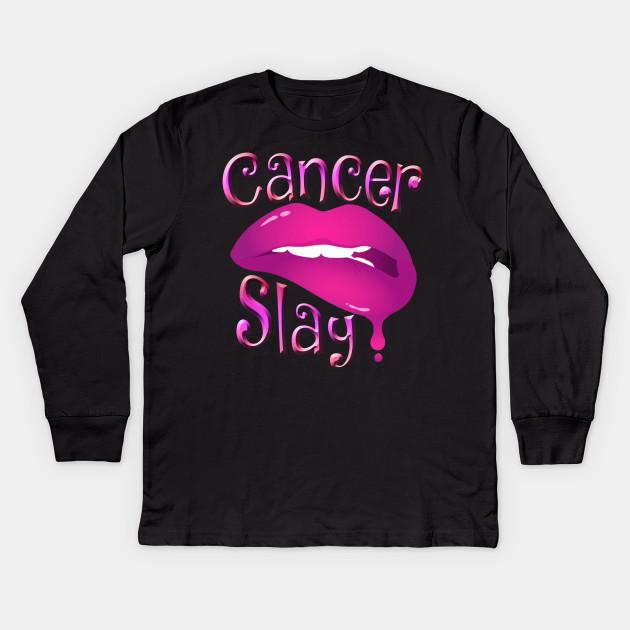 Zodiac Cancer Slay Pink Lips Kids Long Sleeve T Shirt