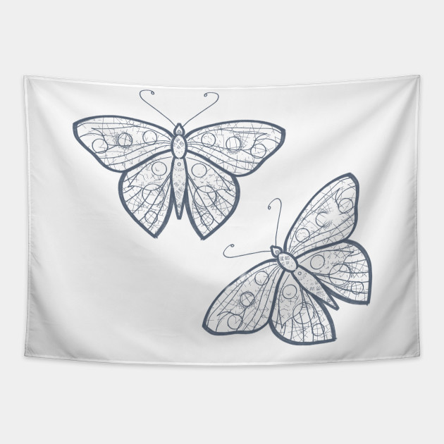 Line Drawing Butterflies Butterfly Art Tapestry Teepublic