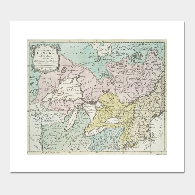 Lakes Of Canada Map.Vintage Map Of Great Lakes Canada 1761
