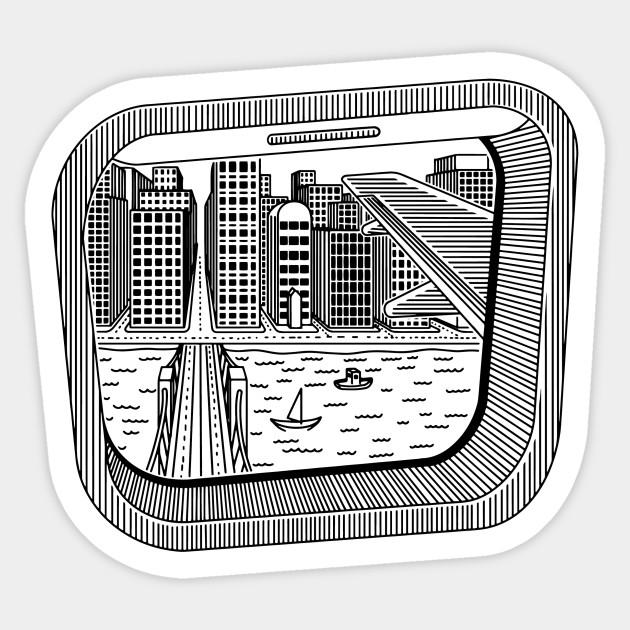 Airplane Window City Travel Destinations Sticker Teepublic