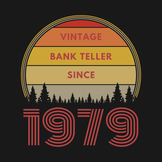 Retro Bank Design.Vintage Bank Teller Since 1979 Retro Sunset Background Bank