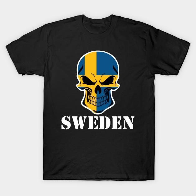 84d0ad18 Swedish Flag Skull Sweden - Sweden - T-Shirt | TeePublic