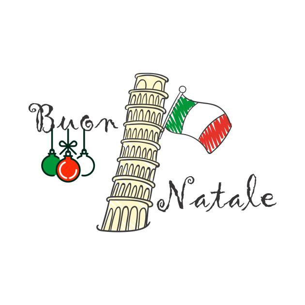 Buon Natale Christmas Italian Flag and Tower of Pisa