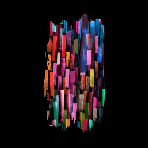 Colorful Brushstrokes Multicolored Black