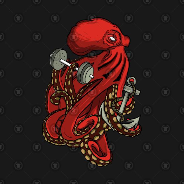 Kraken holding dumbbell