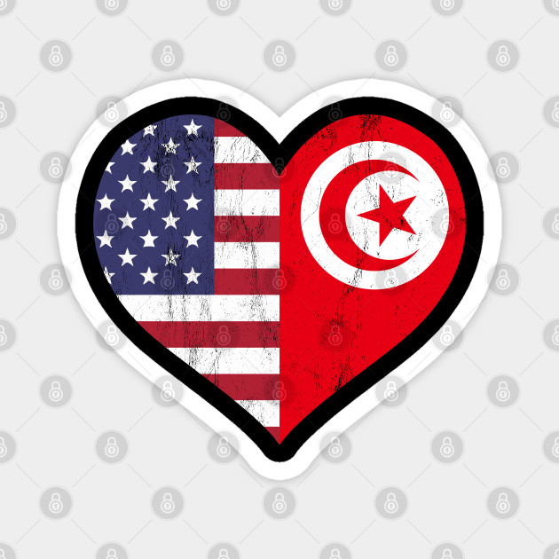 Tunisian American Flag Usa Tunisia Love Heart Flag Usa Magnes Teepublic Pl