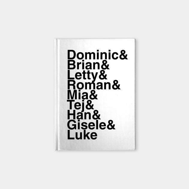 Fast and Furious Helvetica List