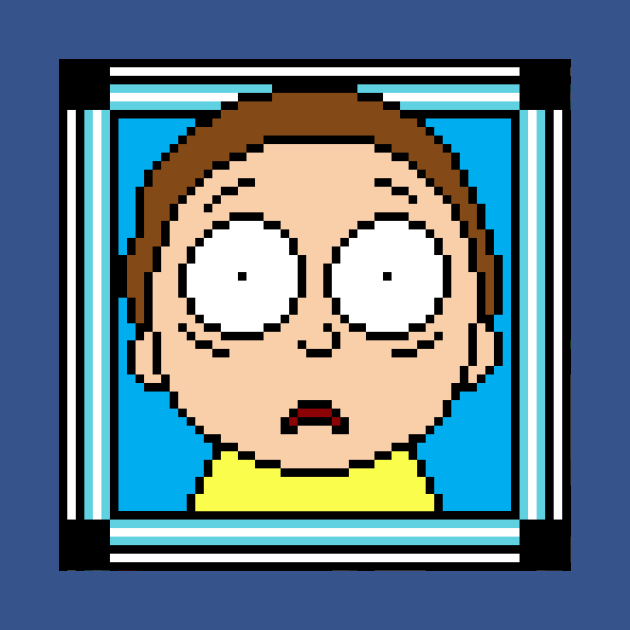 Morty with mega pixel art frame