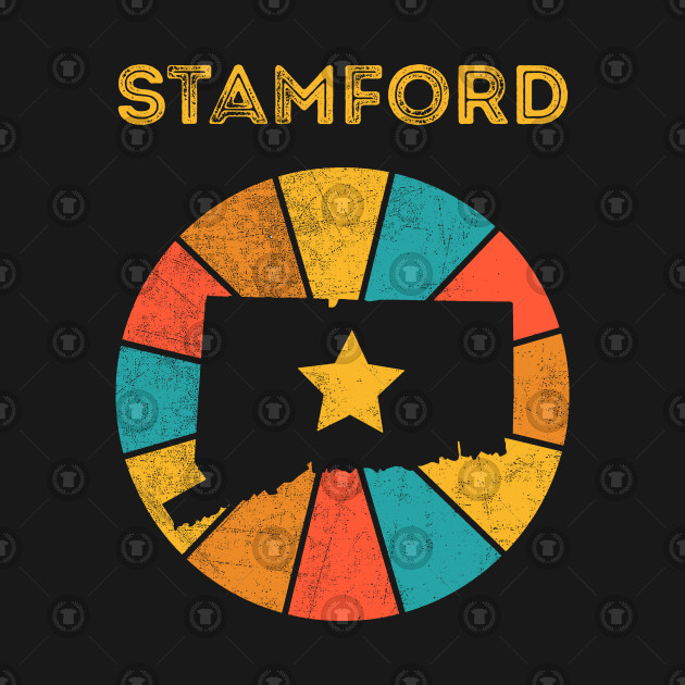 Stamford Connecticut T-Shirt Vintage City Retro Souvenir US State Silhouette Lover Gift With Star